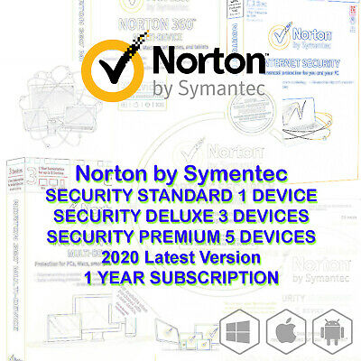 AU17.90 • Buy Norton Internet Security Standard DELUXE PREMIUM 1 3 5 Devices Mac Android 2020