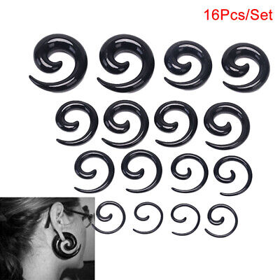 16Pcs/Set Spiral Taper Flesh Tunnel Ear Stretcher Expander Stretching Plug SnWI • 4.14£