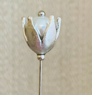 "Beautiful Silver And White Glass Pearl 5"" Hat Pins & Pin Protector ❤️❤️ • 5.99£"