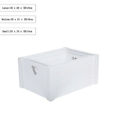 £9.99 • Buy Pure White Heart Cutout Handles Wooden Crates Shelve Storage Box Gift Hamper