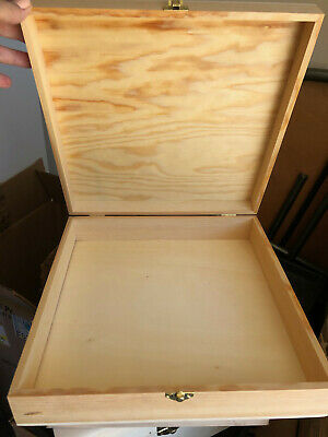 $8 • Buy Unfinished Wooden Box - 12  X 12  X 3   With Hinges And Clasp