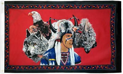 $13.25 • Buy  INDIAN EAGLE & WOLF  3x5 Ft Flag Polyester