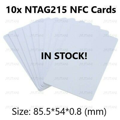 AU10.50 • Buy (IN STOCK) 10x NTAG215 NFC Tag PVC White Cards - TagMo Capable!!