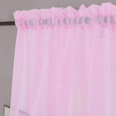 $43.22 • Buy Sheer Curtains Pink 45 Inch Length, Rod Pocket Voile Drapes For Living Room, Bed