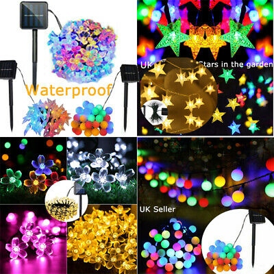 30 50 60 LED Solar Powered Fairy String Star Ball Flower Lights Outdoor Garden • 7.55£