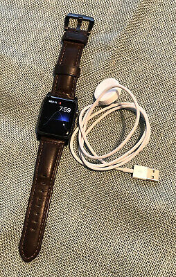 $ CDN182.70 • Buy Apple Watch 42mm 7000 Series Black Aluminum Case Nomad Horween Leather Co Band