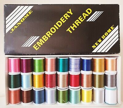 Genuine Janome Embroidery Thread Box Set 27 Reels Mixed Colours • 54.99£