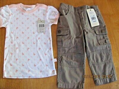 AU15 • Buy 2 X Baby Girl Sz 0 BNWT Items - Chino Pants + Marquise Top NEW