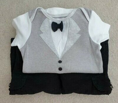 £12.50 • Buy Baby Boy Bow Tie Babygrow & Black Velvet Trousers 12-18 Months By M&Co & Panco