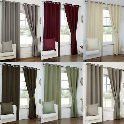 Luxury Waffle Effect Fully Lined Ring Top Eyelet Ready Made Curtains Pair Set • 19.99£
