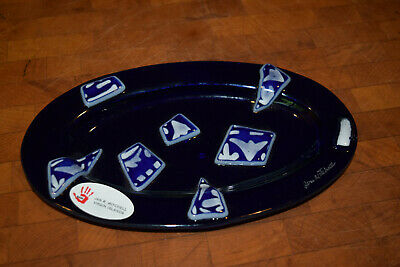 $16 • Buy Jan R. Mitchell Hand Made Cobalt Blue Abstract Oval Glass Dish Signed Unused