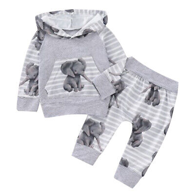 $13.69 • Buy ❤️Newborn Baby Boy Girl Tracksuit Elephant Hooded Tops Pants Clothes Outfits Set