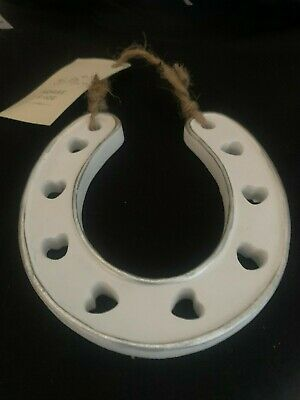 HORSESHOE Horse Shoe Wedding Gift Lucky Luck Charm Hearts Paint Yourself White • 4£