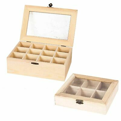 Real Wood Compartment Boxes - Tea Storage Caddy Natural Craft Section Organizer • 12.99£