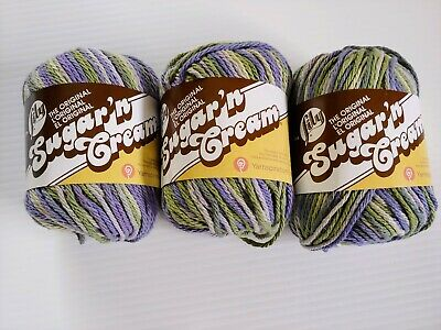 $12.99 • Buy Lily Sugar N Cream Cotton Yarn Lot Of 3 Countryside Ombre Green Purple