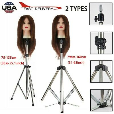 $25.88 • Buy Adjustable Wig Head Stand Mannequin Tripod Holder For Hairdressing Training USA