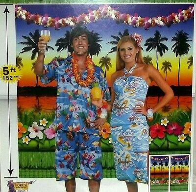 LUAU BACKRDOP Scene Setter Wall SUNSET Party Room Decorations Palm Trees Lei  • 6.40£