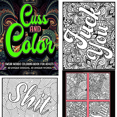 $9.99 • Buy Adult Coloring Book Stress Relief Relaxation Cuss Word Swear Single Sided