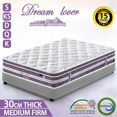 AU125 • Buy QUEEN KING SINGLE DOUBLE Mattress Bed Euro Top Pocket Spring Dream Lover AU