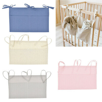 1pc Linen Baby Crib Hanging Storage Bag Baby Cot Bed Organizer Toy Diaper Pocket • 5.16£