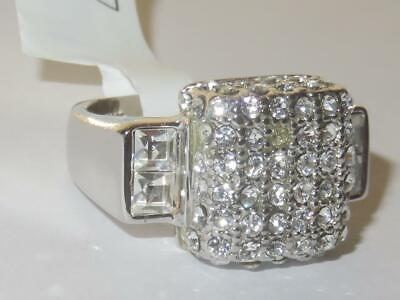 Ladies Silver Ring Sterling Silver Princess Cut Pave Clear Sparkling Stamped 384 • 29.99£