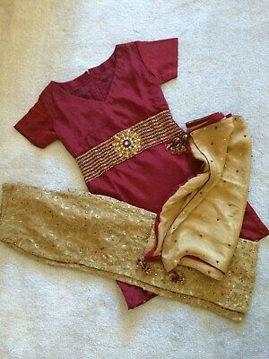NEW! 3 Piece Indian Pakistani Bollywood Party Wedding Trouser Suit Red Gold • 50£