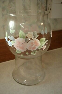 $9.95 • Buy Pfaltzgraff TEA ROSE Flower Vase Aroma Therapy Floating Candle Glass Centerpiece