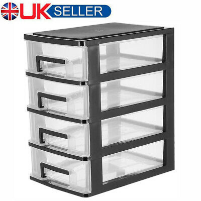 £12.09 • Buy 4 Tier Plastic Storage Drawers Home Office Tower Unit Organizer Tidy Paper Rack