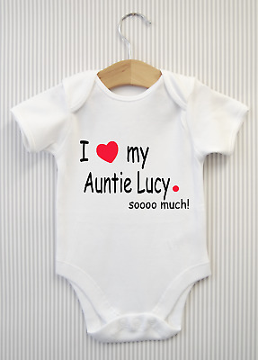 Personalised I Love My Auntie So Much Baby Grow Babygrow Bodysuit Vest Top Gift  • 4.98£