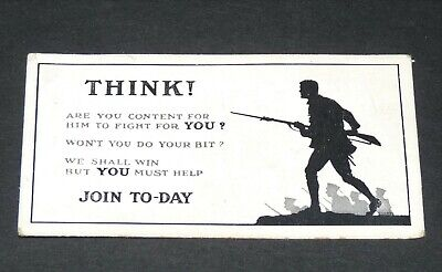 £9.88 • Buy WILLS's CIGARETTES CARD RECRUITING POSTERS WW1 1915 GUERRE 14-18 THINK !