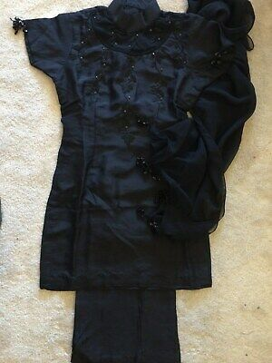 NEW! 3 Piece Indian Pakistani Bollywood Party Wedding Trouser Suit Black Small S • 50£