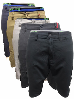 Mens Ex Airwalk Twill Cargo Shorts Combat Knee Length Summer Pants 6 Pocket • 9.99£