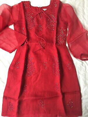 NEW! 3 Piece Indian Pakistani Bollywood Party Wedding Trouser Suit Red Small S  • 45£