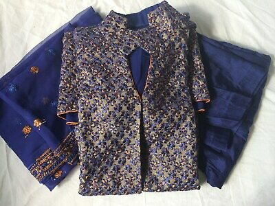 3 Piece Indian Pakistani Bollywood Party Wedding Capri Trouser Suit Small S Blue • 40£