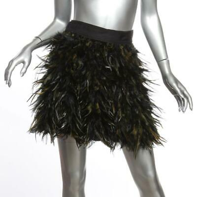 £90.59 • Buy ALICE+OLIVIA CINA Womens Black Ostrich Feather Short Mini Skirt 0 NEW