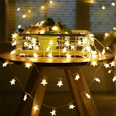 String 50 LED Lights Decoration Fairy Light Star Copper Wire Lamp Indoor Outdoor • 3.76£