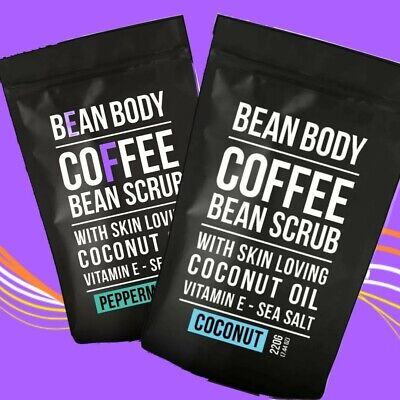 BeanBody Coffee Scrub + 2x Exfoliating Mitts, Anti-cellulite Peppermint/Coconut  • 10.90£