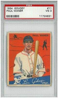 $120 • Buy 1934 Goudey  Paul Waner  Pittsburgh Pirates - PSA 3