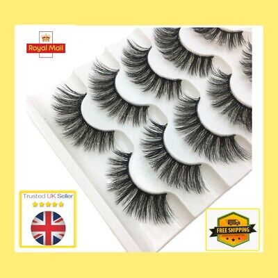 5 Pairs Of 3D Mink False Eyelashes Full Volume Wispy Fluffy Long Lashes ❤️#4 • 3.78£