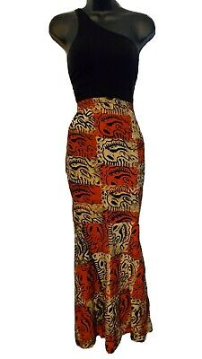 $36 • Buy African Women Orange, Brown, & Beige Long Fitted Skirt That Flairs Out At Bottom