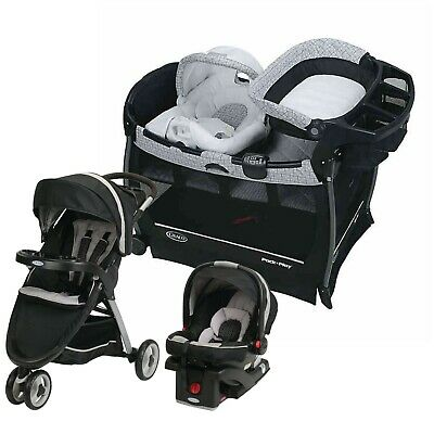 Graco Baby Travel System With Car Seat Combo Playard Nursery Crib Set • 397.25£