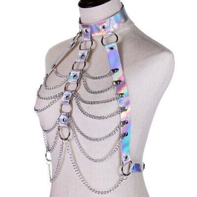 £14.15 • Buy Laser Harness Bra Cupless Bra Metal Chain Leather Top Punk Goth Rave Chest Strap