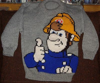 Fireman Sam    Jumper  New Hand Knitted Size 5 • 21.82£