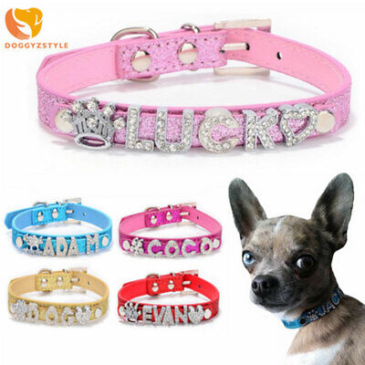 £1.79 • Buy Hot Sale Personalized DIY Name Pet Collar Bling Diamond Leather Dog Cat Collars