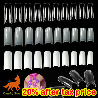 500 Artificial French Nail Art False Acrylic Tips White Clear Natural UV Gel New • 6.99£