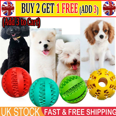 Dog Treat Ball Interactive Chew Resist Toys Teeth Clean Food Dispenser Feeder AT • 3.99£