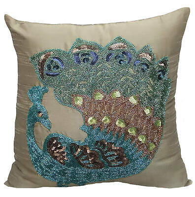 Zipper Cushion Cover Luxury 50x50 Cm Silk Taupe Green - Taupe Green Peacock • 43.99£