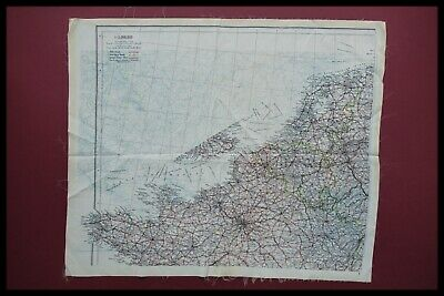 Wwii Royal Air Force Pilots Silk Escape / Evasion Map, France Europe D-day 1944 • 295.95£