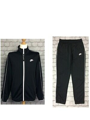 £24.50 • Buy Nike Mens Black Poly Full Zip Track Top  Pants White Piping Sold Separately
