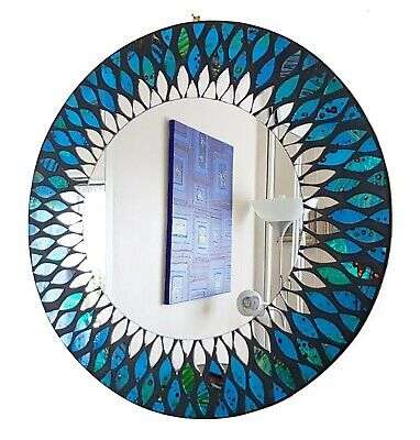 Round Blue & Green Peacock Design Mosaic Wall Mirror 40cm-hand Made In Bali-NEW • 35.99£